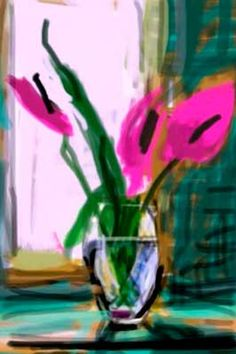 David Hockney - On iPad. Vase with flowers