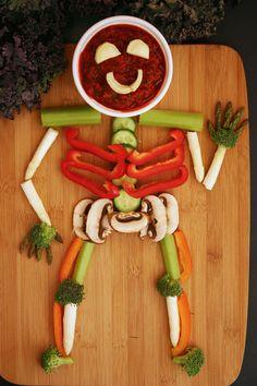 Veggie Skeleton with Roasted Red Pepper Dip