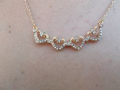 Haute & Sole CZ Stud Necklace in gold tone. Go to:  facebook.com/hotflairs  etsy.com/hotflairs