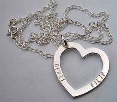 Namnhjärta med kedja i silver, Filip