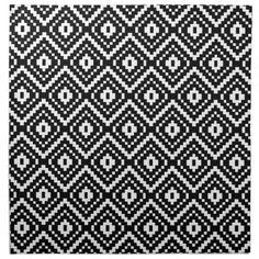 Shop Black and White Aztec Tribal Print Napkin created by jenniferstuartdesign. Printed Napkins, Cotton Napkins, Indian Prints, Tribal Prints, Pretty Patterns, White Patterns, Tapestry Crochet Patterns, Black And White Design, Aztec