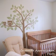 Nursery Wall Decals Baby Owl Tree Vinyl Wall by SurfaceInspired, $74.99