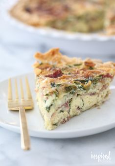 Spinach, Bacon, and Swiss Quiche. This looks lovely for any meal of the day or a special brunch.
