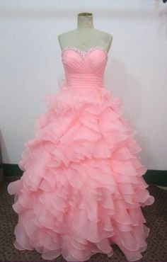 Pink Prom Dresses Ball gown Long Prom Dress / Evening Formal Dress , Pageant Dress Wedding Party Dress- if it only had sleeves! Prom Dresses 2015, Pink Prom Dresses, Pageant Dresses, Formal Evening Dresses, Pretty Dresses, Sexy Dresses, Fashion Dresses, Bridesmaid Dresses, Formal Prom