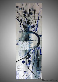 120 x 40  Peinture acrylique, inclusion feuille argenté  Couleurs: noir, gris, blanc, bleu  Les toiles sont peintes à la main avec de la peinture acrylique et ont pour fini - 15921097