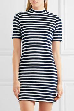 T by Alexander Wang | Striped cotton-blend terry mini dress | NET-A-PORTER.COM