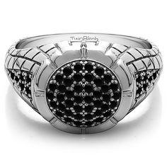 10k Gold .54-carat Black Cubic Zirconia Men's Fashion Wedding Ring (10k White Gold, Size 11)