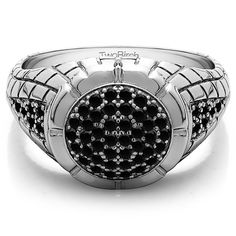 14k White Gold Men's 1/2ct TDW Black Diamond Domed Ring (14k Yellow Gold, Size 13)