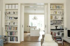 Thought a few pictures of bookshelves surrounding door ways might be helpful as you're thinking about your living room.