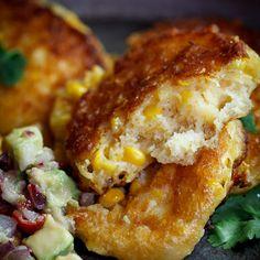 Cheesy Corn Cakes with Spicy Avocado Salsa