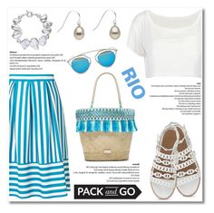 """Pack and Go: Rio"" by pearlparadise ❤ liked on Polyvore featuring Miss Selfridge, Caffé, Christian Dior, contestentry, rio, Packandgo, pearljewelry and pearlparadise"