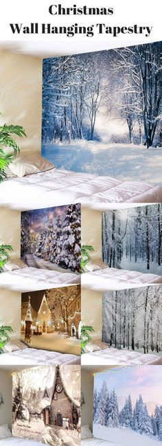 Christmas Snowy Forest Wall Hanging Tapestry |From $9| Free Shipping