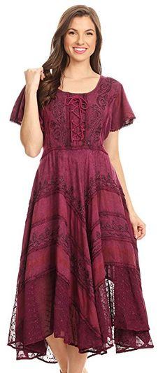 Features corset style top with elastic waist and adjustable straps at waist back. Bottom of dress falls at a beautiful drape, on a mid weight rayon fabric with silver threaded embroidery detailing with subtle plaid patterns.