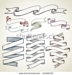 Sketch banners/labels - stock vector