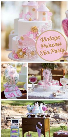 A Vintage Princess Tea Party in pink and white with frills and lace in a gorgeous park setting! See more party planning ideas at CatchMyParty.com!