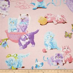 Alexander Henry Nicole's Prints What's New Pussycat? Pink from @fabricdotcom  Designed by Deleon Design Group for Alexander Henry, this cotton print is perfect for quilting, apparel and home decor accents. Colors include green, white, shades of brown, shades of pink, shades of blue, shades of purple, shades of pink, and shades of yellow.