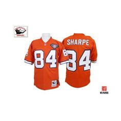 371cdf217 (Authentic Mitchell and Ness Men's Shannon Sharpe Orange Jersey) Denver  Broncos Home NFL Throwback Easy Returns.