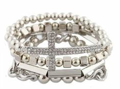 Ladies Silver 4 Piece Bundle of Iced Out Cross, Link, & Bar Chain Beaded Stretch Bracelet: Jewelry
