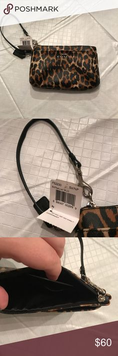 Cheetah Print Coach Wristlet This wristlet is so cute and has a lot of room inside. Never used. Coach Bags Clutches & Wristlets