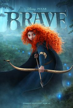 Brave -  Love her and her big hair! ..Determined to make her own path in life, Princess Merida defies a custom that brings chaos to her kingdom. Granted one wish, Merida must rely on her bravery and her archery skills to undo a beastly curse. Gotta see this... Merida is just bautiful..