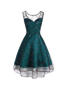 Sleeve Floral Embroidery Dress – Retro Stage - Chic Vintage Dresses and Accessories Cute Prom Dresses, Grad Dresses, Party Dresses For Women, Elegant Dresses, Pretty Dresses, Homecoming Dresses, Beautiful Dresses, Prom Gowns, Short Dresses