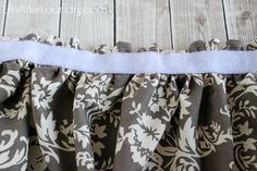A little fabric made a huge upgrade to my bathroom with this tutorial for a DIY Gathered Sink Skirt. Wood Siding, Exterior Siding, Utility Sink Skirt, Bathroom Sink Skirt, Burlap Curtains, Crafts For Girls, Home Decor Fabric, Dyi, Sewing Projects