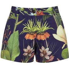 Penfield Turor Botanical Shorts, Navy ($100) ❤ liked on Polyvore featuring shorts, floral printed shorts, beach shorts, floral print shorts, zipper shorts and navy blue shorts