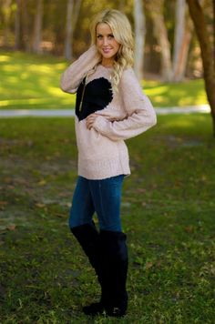 Want to WIN this look?? Follow Be Inspired Boutique on pinterest and find out how you can #win a $500 giftcard!! #beinspiredboutiue #inspiredbyyou Love Story Sweater from Be Inspired Boutique