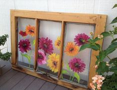 Painted window with zinnias by carey Old Window Art, Window Pane Art, Old Window Screens, Old Window Frames, Window Ideas, Screen Doors, Painted Window Panes, Painted Screens, Window Paint