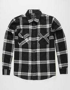 fe4d67bfab SHOUTHOUSE Huron Mens Flannel Shirt - BLKWH - 284986125