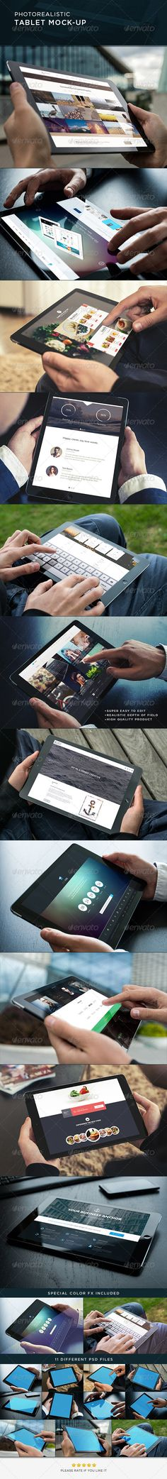 Photorealistic Tablet MockUp — Photoshop PSD #application #photo-realistic mockup • Available here → https://graphicriver.net/item/photorealistic-tablet-mockup/8765380?ref=pxcr