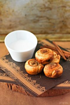 These mini cinnamon roll bites are quickly made with the help of puff pastry. Mini Puff Pastry Cinnamon Rolls Recipe | Take Two Tapas #PuffPastry #CinnamonRoll #Breakfast