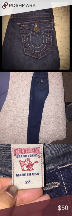 Women's True Religion size 27 jeans Used. Great condition. Size 27 True religion Low rise jeans. I wore them 3-4 times. No rips, Tears, or worn out areas. Dark wash. Slim fit jeans! True Religion Jeans Skinny
