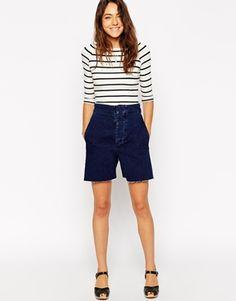 ASOS High Waisted Denim Wide Leg Shorts in Indigo