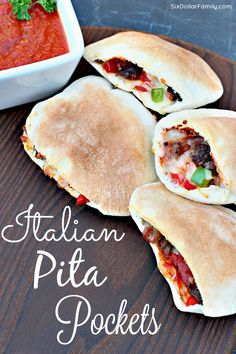 Italian Pita Pockets Recipe - Perfect as a meal or just a mid-week lunch, these Homemade Italian Pita Pockets are super easy to make, filling and have a taste that will have you begging for more!