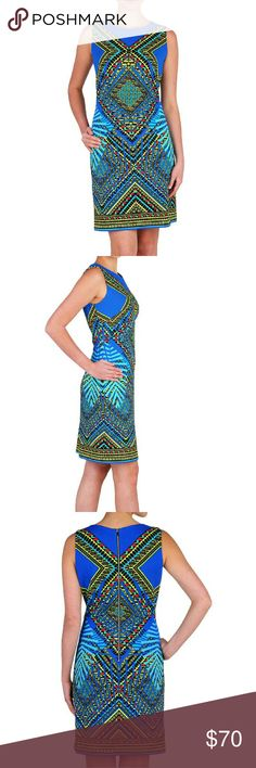 🆕 NWT Nygard Blue Kaleidoscope Sheath Dress This dress is an attention seeker! A unique & eye catching kaleidoscope pattern on a comfortable knit you can wear from day to night. This will replace your little black dress!   Sleeveless Sloane Sheath with Exposed Zipper Lined Dress Short Print Pique Knit 95% Polyester 5% Spandex Machine Wash Cold, Wash Inside Out With Like Colors, Gentle Cycle, Non Chlorine Bleach, Tumble Dry Low, Iron at Low Temperature Imported Peter Nygard Dresses