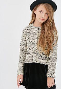 Marled Knit Collarless Jacket (Kids)   Forever 21 girls - 2000055778