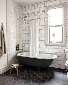 Black clawfoot tub with black and white tile - gorgeous minimalist bathroom design! White Bathroom Tiles, Retro Bathrooms, Bathroom Interior Design, Home, Home Renovation, Bathroom Renovations, White Bathroom, Clawfoot Tub Bathroom, Bathrooms Remodel