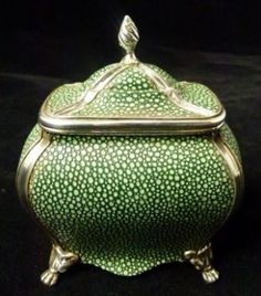 Small C19th Bombe shaped Silver plate and Shagreen Tea caddy. By Nathan & Hayes circa 1890.