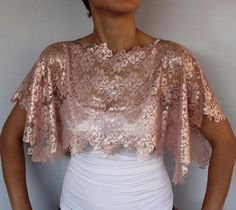 Lace Bridal Bolero, Chic Top Wear Shrug in Shining Pastel Powder Pink Color. Cape. Handmade.Unique Design