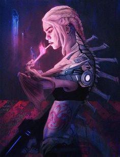 Cyberpunk Daenerys by DarrenFlood Cyberpunk android robotic cyborg woman face, in futuristic cyberpunk fashion costume scifi tech outfit, concept art female cha Cyberpunk Kunst, Cyberpunk Girl, Cyberpunk 2077, Cyberpunk Fashion, Fantasy Kunst, Fantasy Art, Character Inspiration, Character Art, Character Design