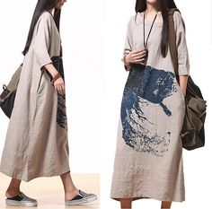 Comfort Linen Maxi Dress / Unique Summer Ma qualities  round neck short-sleeved loose dress on Etsy, $128.00
