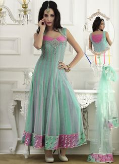Dazzling Stones Adorned Net Anarkali Suit