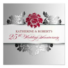 silver 25th wedding anniversary elegant invitation