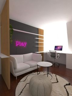 Redesign of teenage girl room. Aesthetic style. Neon pink sign. Purple Kids Rooms, Modern Girls Rooms, Pink Bedroom For Girls, Girl Bedroom Walls, Room Design Bedroom, Bedroom Wall Colors, Girl Bedroom Designs, Girl Room, Girls Room Design