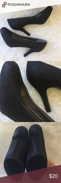 """Kelly & Katie Isabel Black Closed Toe Pumps Like new pre loved condition. Box not included. 3.5"""" heel. Slight glitter shine black fabric. (No actual glitter on shoes) Kelly & Katie Shoes"""