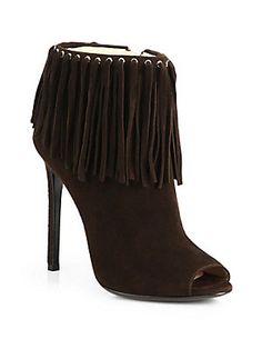 Prada Suede Fringe Ankle Boots