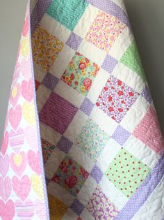 Lavender Baby Quilt Traditional Baby Quilt Pastel by GoBeWonderful