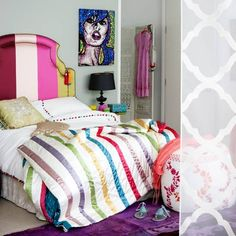 unmade colorful bedding