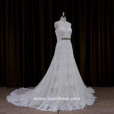 Fashion plus size wedding dress patterns sexy lace A line full lace wedding dress 2016